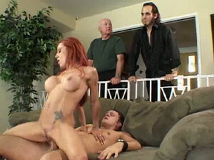 MILFie Red Haired Cheating Wifey Barber Is Caught Fucking On Living Room Couch