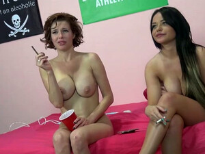 Duo Of Big Boobed Brunette Hookers Smoke After Hot Threesome