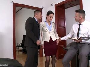 Dobel anal,Seks layani dua pria,Ruang kantor,Sekretaris,Stoking