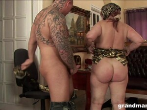 Horny Granny With A Phat Ass Fucks A Man To A Powerful Orgasm