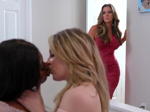 Stepmom Catches Her Stepdaughter Exploring Her Lesbian Side With Her Friend