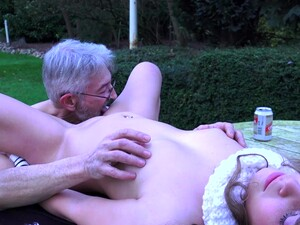 Stunning Outdoor Sex Play For A Teen And Her Grandpa