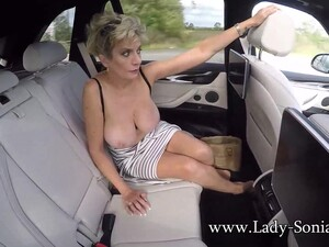 Lady Sonia Exposes Her Tits In The Car
