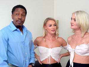 臀部,大鸡巴,两女一男,不同人种,短发