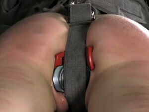 Brunette Girl In Straitjacket Gets Lots Of Sex Toys In Her Holes