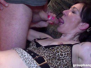 Amateur Skinny Inked Cougar Swallows Loads From Two Kinky Dudes