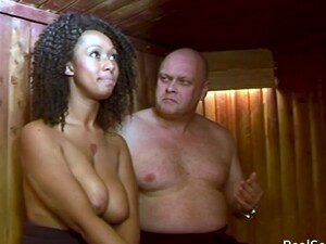 Ebony Chick Gets Spanked In The Sauna. White Guy Spanking A Black Gal Over The Knee