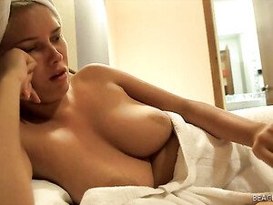Freshly Showered Chick With Her Tits Out In A Hotel Room