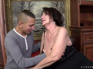 Brunette Granny Celeste Makes Out With A Boy And Fucks Him
