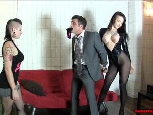 Goth Chick And Friend Break Her Boss BALLBUSTING LESBIANS