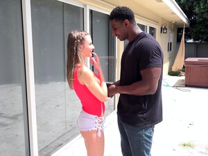 Cute Shorty Kyler Quinn Seduces Black Stud To Suck His Strong Cock Well