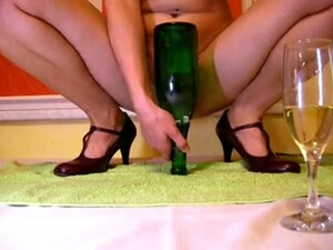 Huge Green Glass Bottle Was Inserted In Lusty Nympho's Pussy Deep