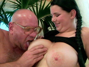 Juggy Brunette Slut Gets Her Big Tits Oral Stroked By Horny Grandpa