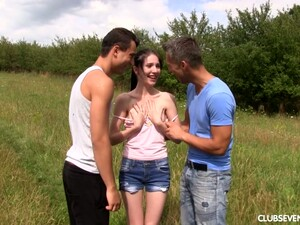 Pretty Teen Mia Evans Is Having Dirty Threesome In The Garden