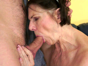 Kinky Cougar Margo Gives Deepthroat Blowjob To Handsome Young Stud
