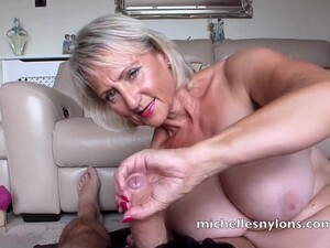 Naughty Michelle Jerks A Hard Cock Until He Cums In Her Hand