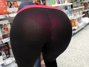 Candid Seethrough Spandex Leggings In The Supermarket Flashing Thick Booty And Cameltoe