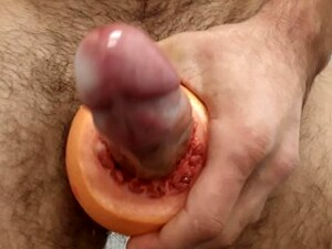 Using The Grapefruit As A Vagina And Fuck With Condom