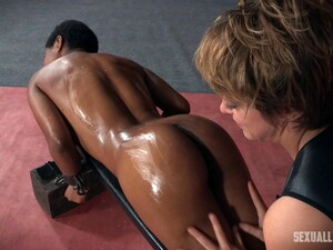 Strapon Fucks Her Pussy As A White Cock Bangs Her Black Mouth