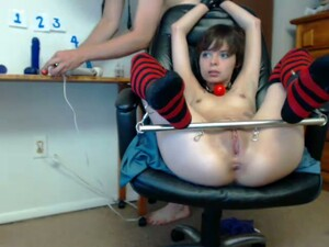 Wild Gagged And Tied Up Whore Lets Dude Masturbate Her On Webcam