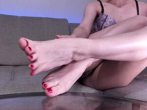 Tan Nylon Socks And Bare Feet Tease