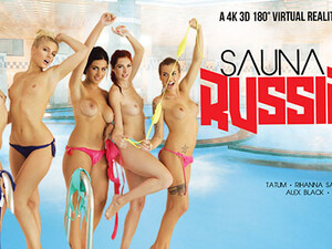Alex Black Kattie Gold Rihanna Samuel Silvia Dellai Sweet Cat In Sauna Russian Style Part 2 - VRBangers