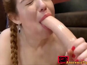 Hot Petite Girl Literally Swallowing Huge Dildo And Fucking It