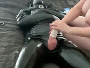 Femdom Letting My Latex Bondage Sub Fuck Me But With 10 Condoms On