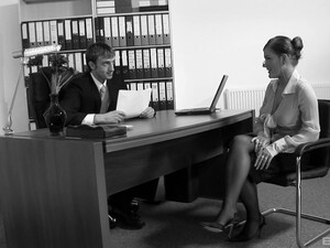 The Woman In HR Lets Him Fuck Her Right On Her Desk