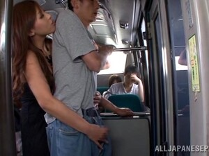 Nice Japanese Girl In A Dress Gives Blowjob An Titjob In Metro Train
