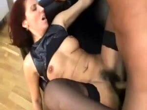 Sweet Mom In Stockings With Hairy Cunt