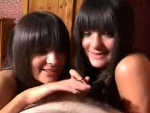 Twin Sisters Sucking A Small Cock