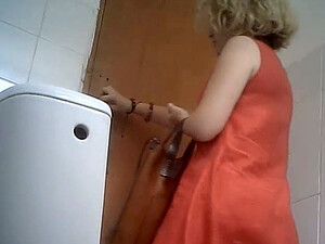 Pale Skin Sexy Lady In Pink Dress Gets Her Ass Filmed On Spycam