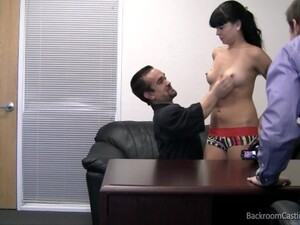 Fake Agent Tricking A Cute Brunette Into A Threesome