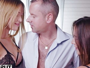 TUSHY Gorgeous Brunettes Seduces Professor For Anal Threesome