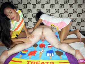 Two Horny Thai Transsexuals Phatida And Aemy Performs A Dirty Massage Session For Kinky Guy.