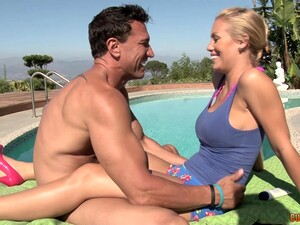Big Dick For This Busty Wife During A Naughty Pool Shag