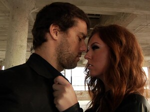 Rough Threesome Action In Abandoned Building With Sexy Redhead Girl