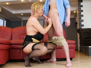 Young Dude Fucks Mouth And Old Pussy Of Nasty Blond Mature Woman Victoria Hope