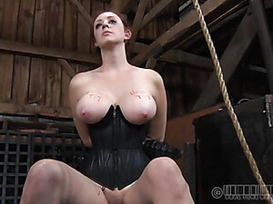 Leather Corset And Collar On A Hot Redheaded Chick