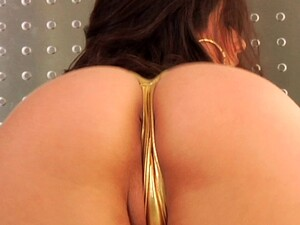 An Alluring Beauty In A Shiny Gold Swimsuit Craves Great Anal Sex