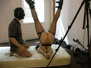 Honey In Stockings Gets An Upside Down Suspension