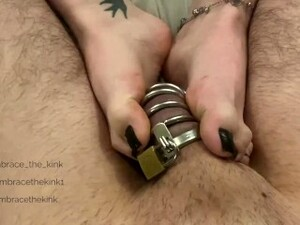 Chastity Femdom Foot Tease, Frustrated In His Cock Cage (Preview/Teaser)