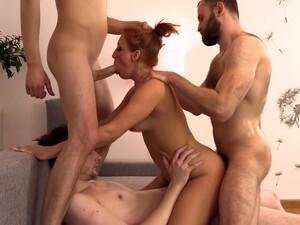Hot Redhead Milf Fucked Hard By Three Guys