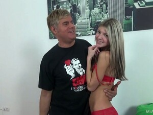 Happy Grey Haired Pervert Loves The Way Young Chick Rides His Dick On Top