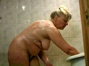 Chunky White Busty Granny Washing In The Shower Room