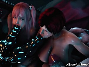 Two 3D MILFs Fucked By Gang Of Dudes
