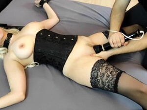 BDSM Couple Dominates A Sub Blonde, Ties Her To Bed And Drives To Orgasm