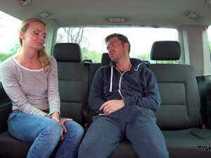 Blonde Amy Rides A Lucky Guy In The Back Seat Of His Car