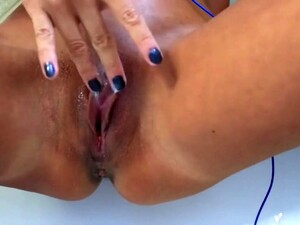 My Bathroom Solo With My Slimy Pussy And My Huge Swollen Clit.